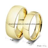 Alto Anillo de Bodas Polished del Oro en la Joyería del Acero Inoxidable para los Hombres y las Mujeres