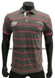T-shirt listrado tintura do fio para homens com cópia e bordado