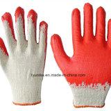 Сад перчатки красный обычная белая бумага с покрытием из латекса перчатки из хлопка с маркировкой CE