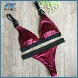 Пользовательское обозначение черного цвета красного бархата Метелками Sexy бразильского линии бикини
