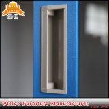 Vidro corrediço de porta de vidro Visor Armário de aço armário com 4 prateleiras ajustáveis