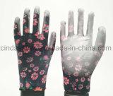 Красочный сад рабочей PU покрытием перчатки
