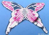 蝶は服の衣服のアクセサリのためのスパンコールがついたレースカラーファブリックを着色する