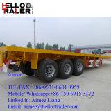 中国三車軸40FT平面フレームの重要な輸送のトラックのトレーラー