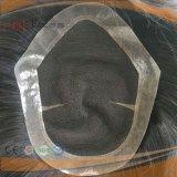 I Mens neri non trattati di colore dei capelli umani mettono la parrucca in cortocircuito del Toupee