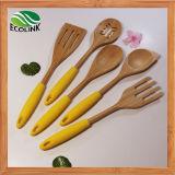 Цветные силиконовые ручки бамбук кухни кухонные принадлежности