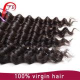 7A等級100%のモンゴルに深い波の人間の毛髪の編むこと