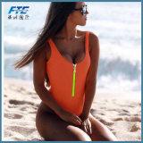 Spandex-Reißverschluss-Leerzeichen-einteiliger Frauen-Bikini