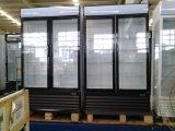 Refrigerador de exposição de bebidas de vidro de três portas com rodas