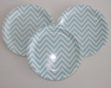 "9 "" Blue Chevron de fruits de la plaque de papier pour l'alimentation"
