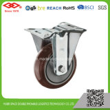 80mm Schwenker-Platte rote PU-industrielle Fußrolle (P103-36EC080X32)