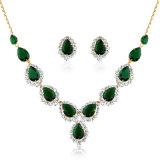 Waterdrop Zirocn verde chapado en oro amarillo de Conjunto de collar de joyas de mujer
