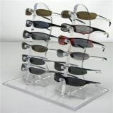 Stand de exibição de óculos de acrílico transparente personalizado. Visor de óculos de sol, Display de óculos