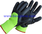 Doublure thermique acrylique de 7 mesures plus, 13G couche extérieure en nylon, enduit de nitriles, 3/4, gant de fini de mousse