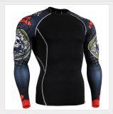 Dessus de chemise de couche de base de forme physique de compactage de T-shirts de sports de collants de la gymnastique d'hommes long