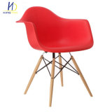 Estofado Perna moderno em madeira Cadeira Eames braço plástico