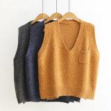De la mujer Chaleco tejido acrílico suéter de cuello corto V Mayorista