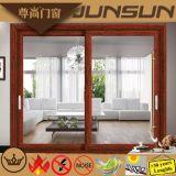 Portes extérieures en aluminium de portes intérieures de couleur en bois de couleur de teck