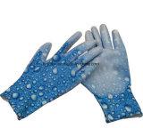 Сад перчатки печатных цветов перчатки нейлоновые перчатки PU покрытием перчатки