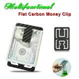 Multifuncional personalizado de fibra de carbono plana Money Clip porta tarjeta Abrebotellas