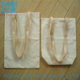 Comercio al por mayor Blanco personalizado ecológica reutilizable Bolsa de compras de lienzo de algodón con bolsillo