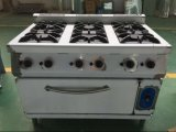 Ряд газа Hgr-76g 6-Burner с печью газа для оборудований кухни