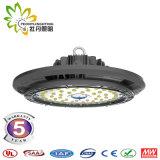 Diodo emissor de luz Highbay 150W claro do UFO da lente 150lm/W de 60/90 de grau, iluminação industrial do diodo emissor de luz do UFO, luz de Highbay do armazém do diodo emissor de luz