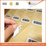 Étiqueter l'impression PVC transparent de plastique le collant de papier adhésif en verre de code barres