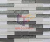 Super blanco y gris mezcla Mosaico tira de cristal (CFS691)