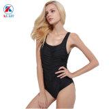 Logo personnalisé pure couleur noir en nylon monobloc Sexy femmes maillot de bain