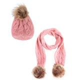 Insieme del Knit della sciarpa del Beanie del Pompom della pelliccia dei bambini di modo
