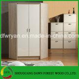 Projeto de canto moderno do Wardrobe da porta simples moderna da melamina