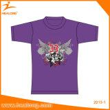 Healong kundenspezifische Großhandelsart und Gewebe kundenspezifisches Drucken-Kurzschluss-Hülsen-Polyester-T-Shirt