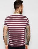 カスタム人および女性の赤い縞のTシャツ