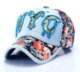 Logotipo personalizado Nyc 3D Embroideried Denim Sport Cap, boné de beisebol, boné de lazer em vários tamanhos, design e material