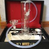 Narguilé en verre Shisha avec la caisse de boyau et de cuir de narguilé de silicones (ES-HS-002)