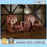 Móveis de lazer em couro genuíno com sofá e mesa de café