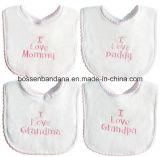 中国の工場OEMの農産物は刺繍の綿のテリーの安い赤ん坊の胸当てをカスタム設計する