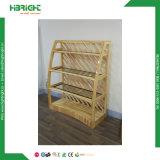 Visualización de madera del estante del pan del supermercado de lujo del diseño