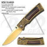Blue Ti-Coated Blade Ebony Handle Folding Pocket Knife