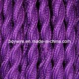 紫色ファブリックワイヤー2コア編みこみの電気ツイストワイヤー