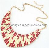 La moda de resorte ajustable Collar chapado en oro de las cadenas de color rojo amarillo