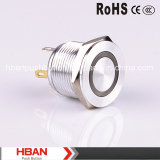 CE RoHS Hban (19mm) Ring-Illumination Interruptor de botón de metal plano