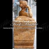 Escultura de oro Mano-Tallada del travertino para la decoración casera Ms-122