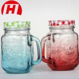 Tarro de cristal del vidrio de consumición de la bebida del tarro de masón