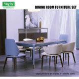 Tabella pranzante stabilita della mobilia della sala da pranzo e presidenza pranzante di cuoio (DS002)