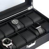 Schwarzer Kohlenstoff-Faser-Glas-Oberseite-Uhr-Kasten hält 12 große Uhren an
