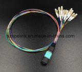 Cabo de fibra óptica de cabo do chicote de MPO patch cord