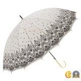革屈折のハンドルが付いている繭紬ファブリックまっすぐな傘