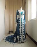Vestidos де Гала Largos синего цвета шифона длинной втулки на арабском языке Kaftans вечерние платья женщин